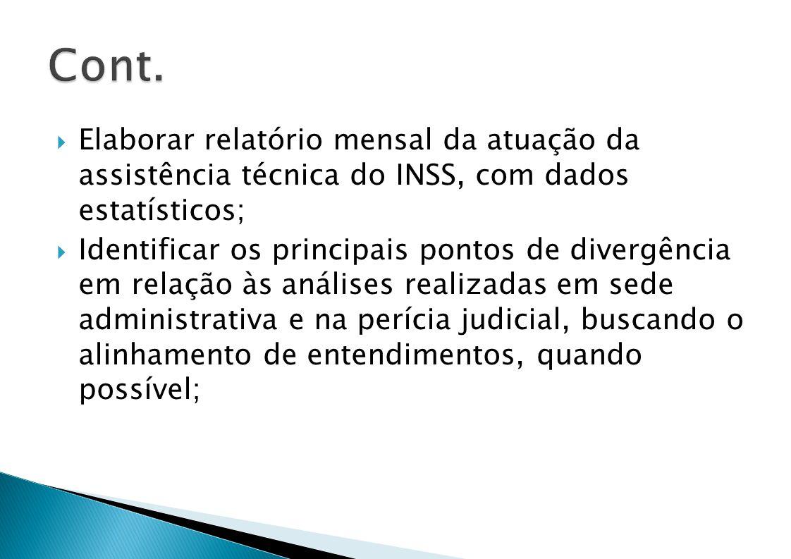 Elaborar relatório mensal da atuação da assistência técnica do INSS, com dados estatísticos; Identificar os principais pontos de divergência em relação às análises realizadas em sede administrativa e na perícia judicial, buscando o alinhamento de entendimentos, quando possível;