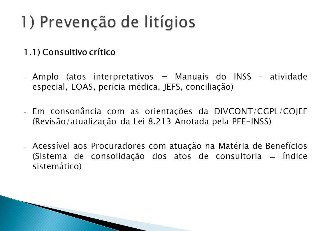 1.1) Consultivo crítico - Amplo (atos interpretativos = Manuais do INSS – atividade especial, LOAS, perícia médica, JEFS, conciliação) - Em consonância com as orientações da DIVCONT/CGPL/COJEF (Revisão/atualização da Lei 8.213 Anotada pela PFE-INSS) - Acessível aos Procuradores com atuação na Matéria de Benefícios (Sistema de consolidação dos atos de consultoria = índice sistemático)