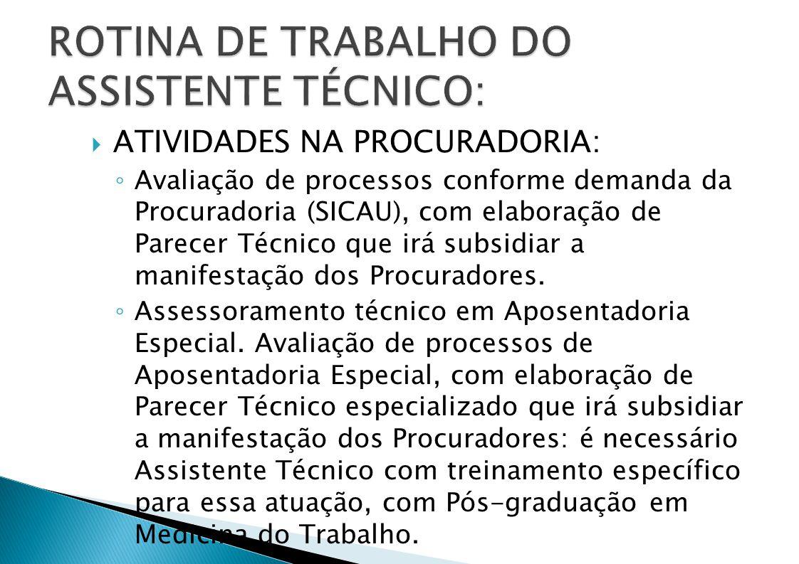 ATIVIDADES NA PROCURADORIA: Avaliação de processos conforme demanda da Procuradoria (SICAU), com elaboração de Parecer Técnico que irá subsidiar a manifestação dos Procuradores.