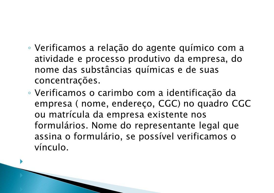 Verificamos a relação do agente químico com a atividade e processo produtivo da empresa, do nome das substâncias químicas e de suas concentrações.