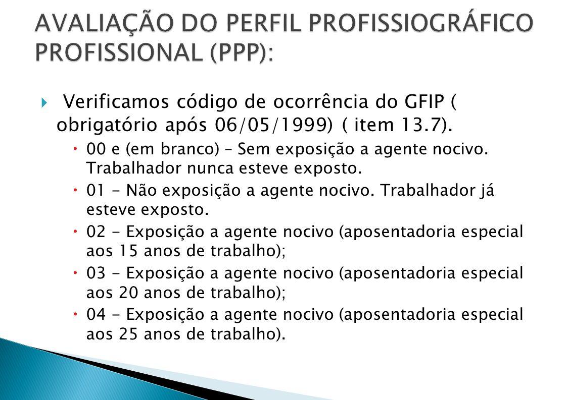 Verificamos código de ocorrência do GFIP ( obrigatório após 06/05/1999) ( item 13.7).
