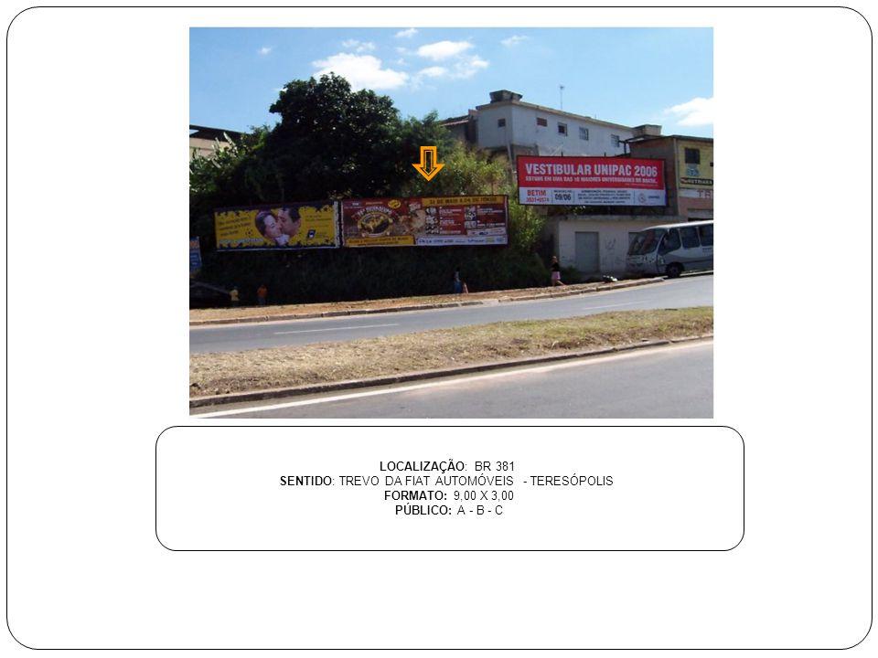 LOCALIZAÇÃO: BR 381 SENTIDO: TREVO DA FIAT AUTOMÓVEIS - TERESÓPOLIS FORMATO: 9,00 X 3,00 PÚBLICO: A - B - C