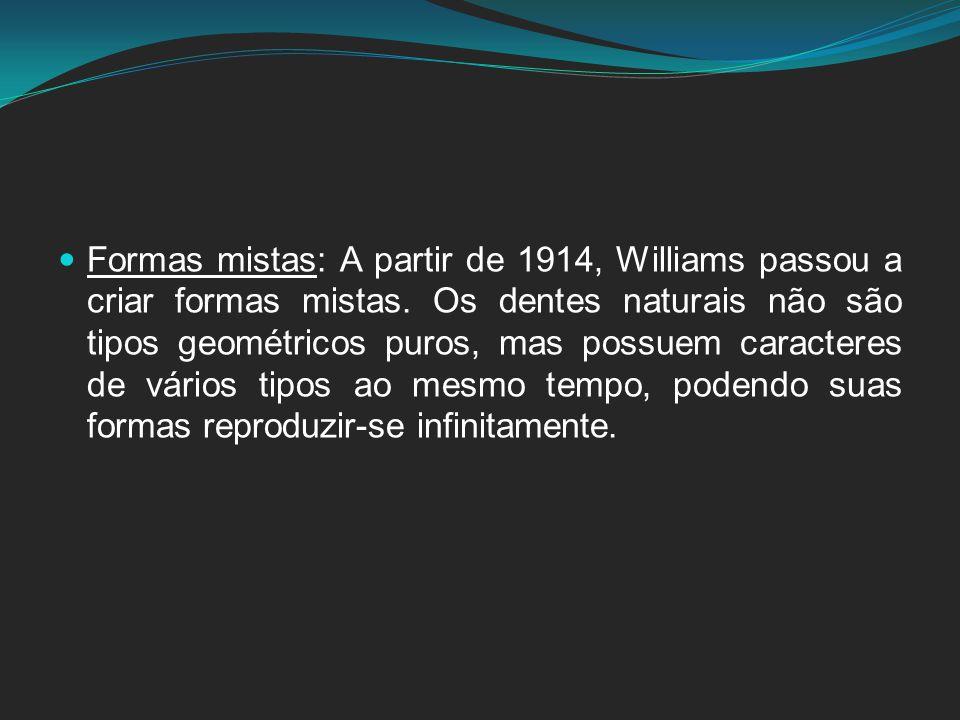 Formas mistas: A partir de 1914, Williams passou a criar formas mistas. Os dentes naturais não são tipos geométricos puros, mas possuem caracteres de