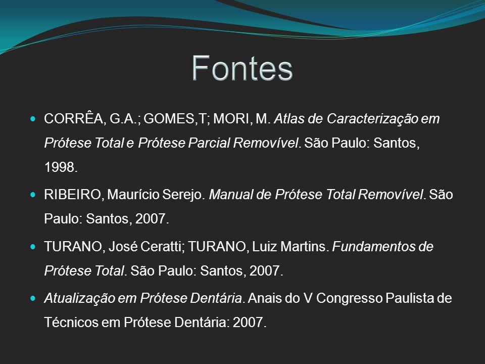 CORRÊA, G.A.; GOMES,T; MORI, M. Atlas de Caracterização em Prótese Total e Prótese Parcial Removível. São Paulo: Santos, 1998. RIBEIRO, Maurício Serej