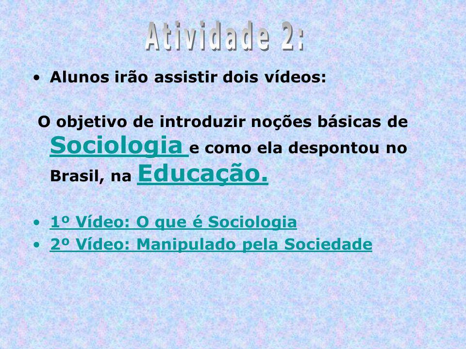 Alunos irão assistir dois vídeos: O objetivo de introduzir noções básicas de Sociologia e como ela despontou no Brasil, na Educação. Sociologia Educaç