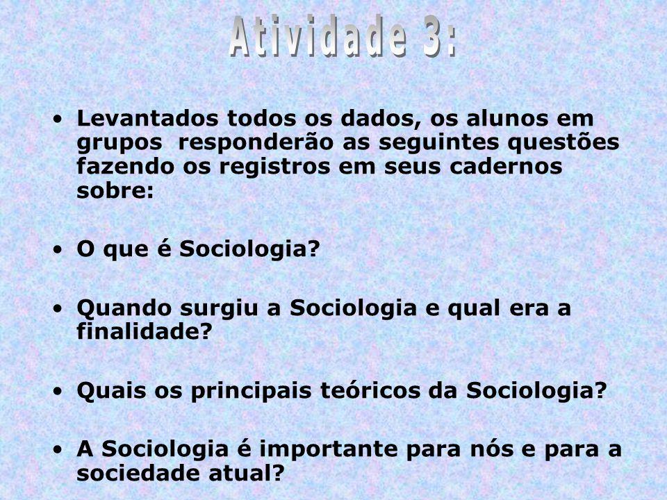 Levantados todos os dados, os alunos em grupos responderão as seguintes questões fazendo os registros em seus cadernos sobre: O que é Sociologia? Quan