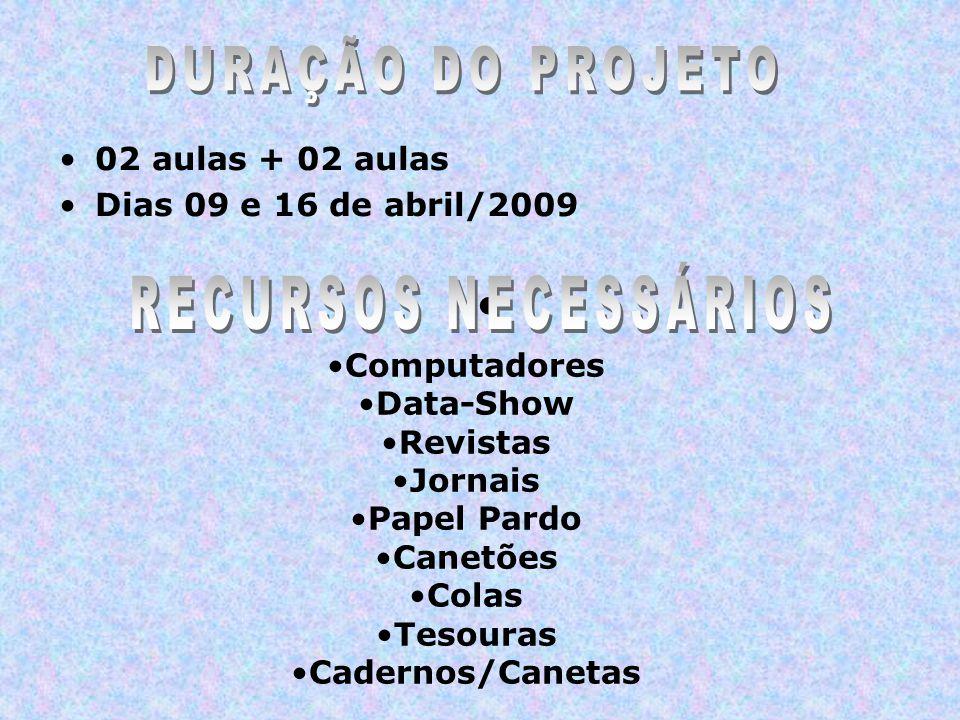 02 aulas + 02 aulas Dias 09 e 16 de abril/2009 Computadores Data-Show Revistas Jornais Papel Pardo Canetões Colas Tesouras Cadernos/Canetas