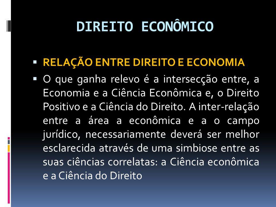 DIREITO ECONÔMICO RELAÇÃO ENTRE DIREITO E ECONOMIA O que ganha relevo é a intersecção entre, a Economia e a Ciência Econômica e, o Direito Positivo e a Ciência do Direito.
