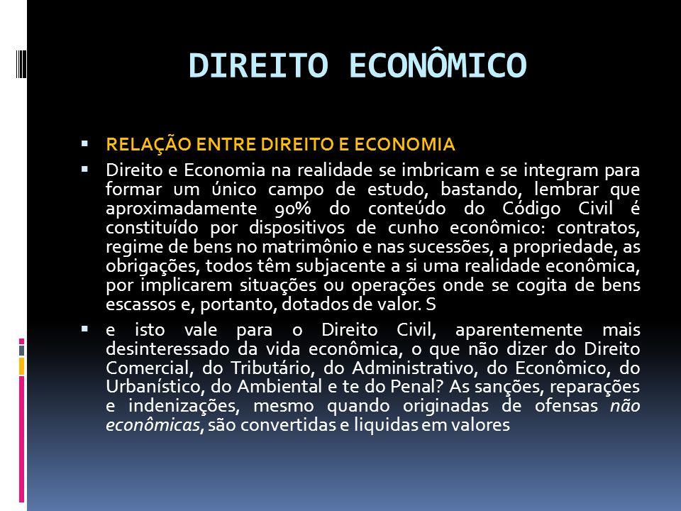 DIREITO ECONÔMICO RELAÇÃO ENTRE DIREITO E ECONOMIA Direito e Economia na realidade se imbricam e se integram para formar um único campo de estudo, bas