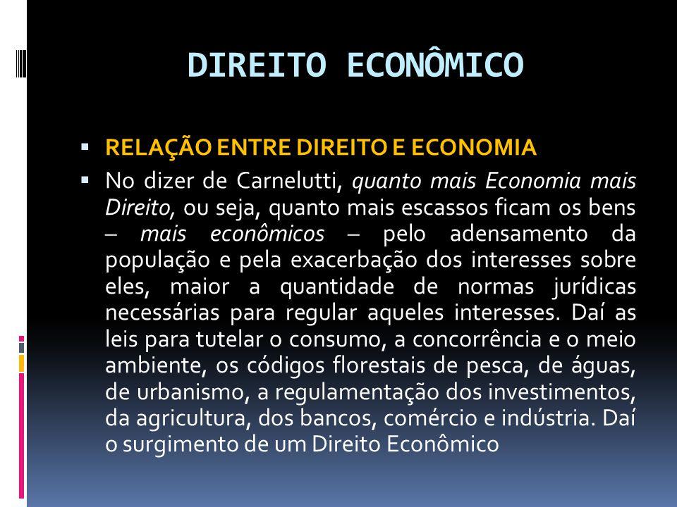DIREITO ECONÔMICO RELAÇÃO ENTRE DIREITO E ECONOMIA No dizer de Carnelutti, quanto mais Economia mais Direito, ou seja, quanto mais escassos ficam os b