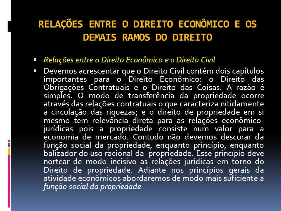 RELAÇÕES ENTRE O DIREITO ECONÔMICO E OS DEMAIS RAMOS DO DIREITO Relações entre o Direito Econômico e o Direito Civil Devemos acrescentar que o Direito