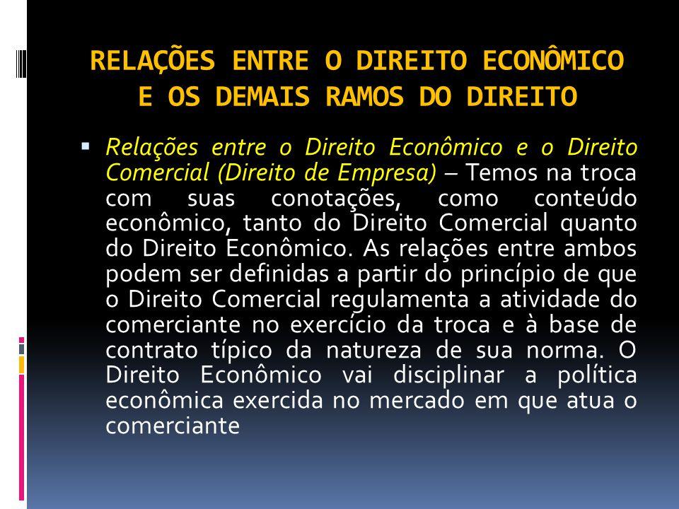 RELAÇÕES ENTRE O DIREITO ECONÔMICO E OS DEMAIS RAMOS DO DIREITO Relações entre o Direito Econômico e o Direito Comercial (Direito de Empresa) – Temos na troca com suas conotações, como conteúdo econômico, tanto do Direito Comercial quanto do Direito Econômico.