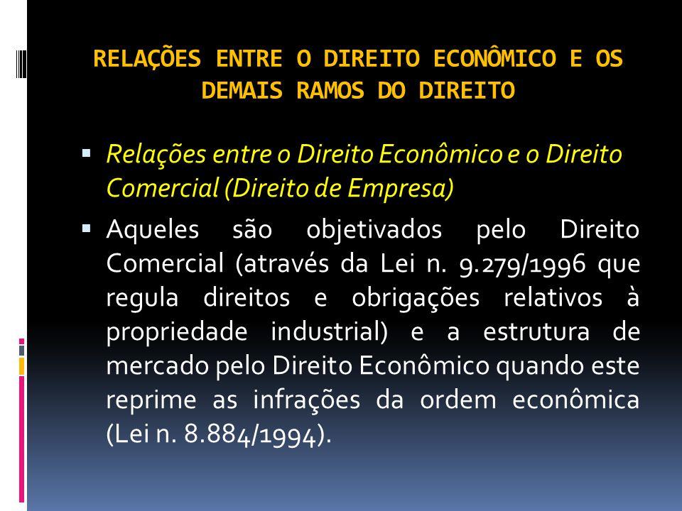 RELAÇÕES ENTRE O DIREITO ECONÔMICO E OS DEMAIS RAMOS DO DIREITO Relações entre o Direito Econômico e o Direito Comercial (Direito de Empresa) Aqueles são objetivados pelo Direito Comercial (através da Lei n.