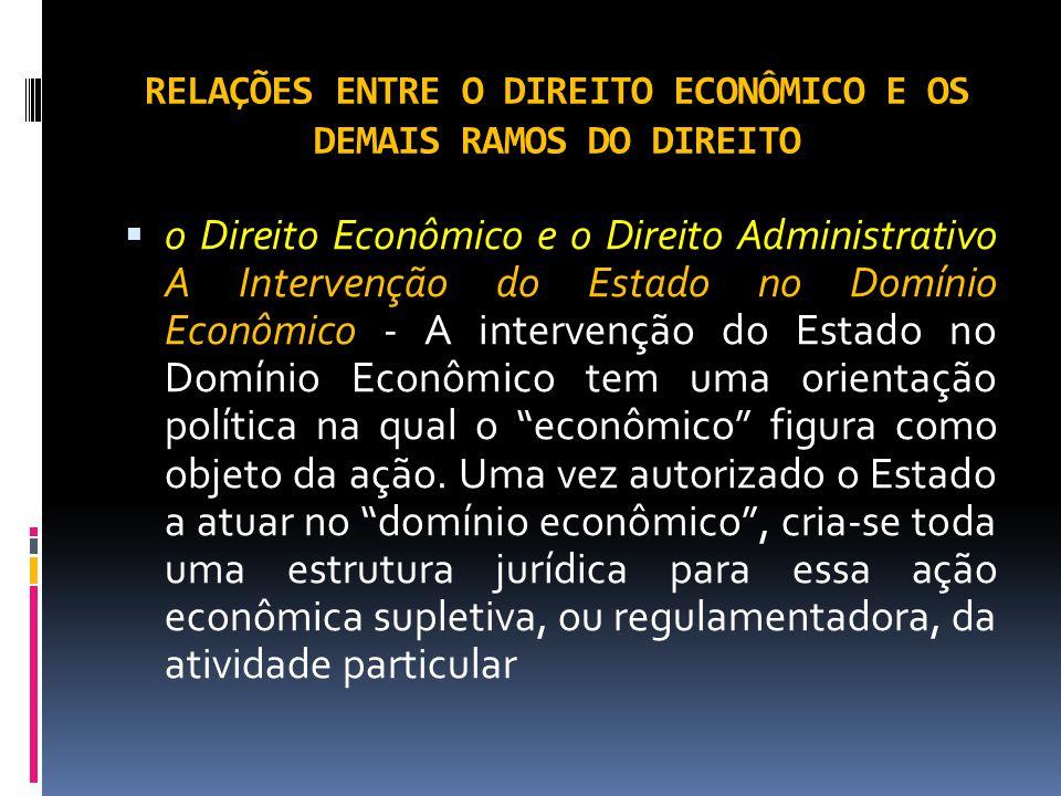 RELAÇÕES ENTRE O DIREITO ECONÔMICO E OS DEMAIS RAMOS DO DIREITO o Direito Econômico e o Direito Administrativo A Intervenção do Estado no Domínio Econômico - A intervenção do Estado no Domínio Econômico tem uma orientação política na qual o econômico figura como objeto da ação.