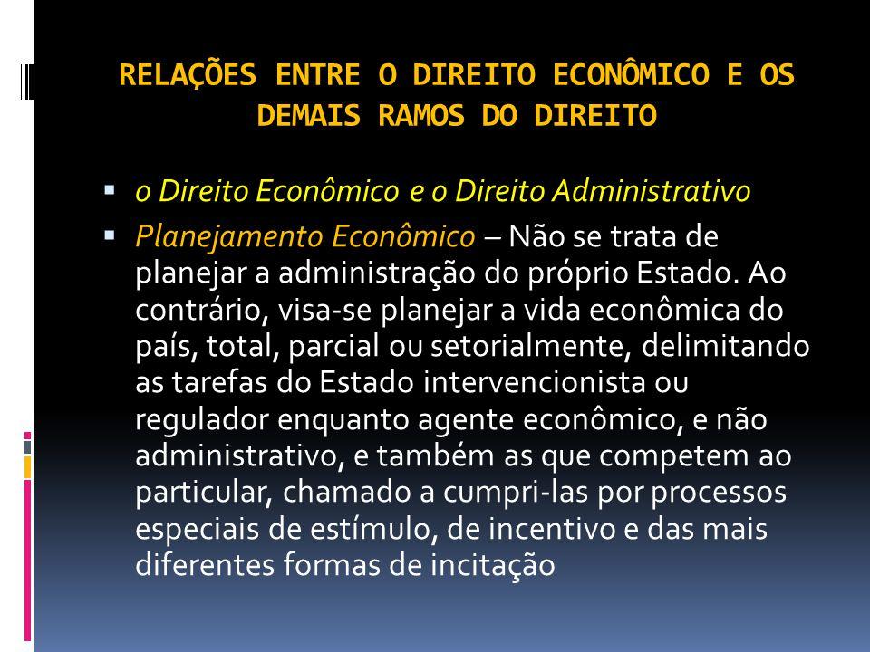 RELAÇÕES ENTRE O DIREITO ECONÔMICO E OS DEMAIS RAMOS DO DIREITO o Direito Econômico e o Direito Administrativo Planejamento Econômico – Não se trata de planejar a administração do próprio Estado.