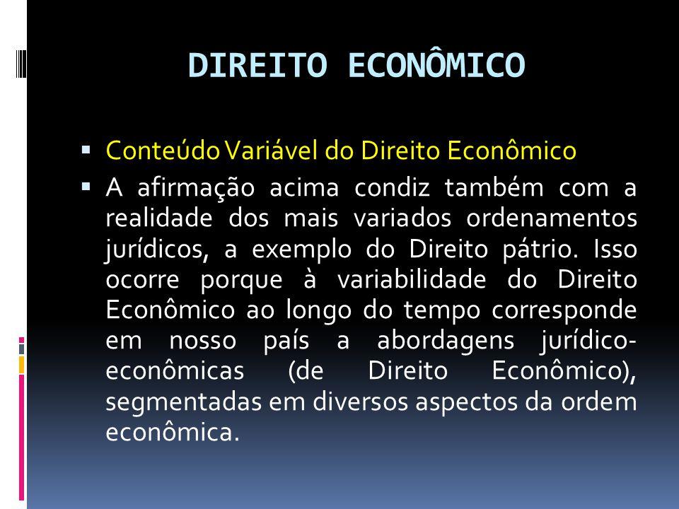 DIREITO ECONÔMICO Conteúdo Variável do Direito Econômico A afirmação acima condiz também com a realidade dos mais variados ordenamentos jurídicos, a exemplo do Direito pátrio.