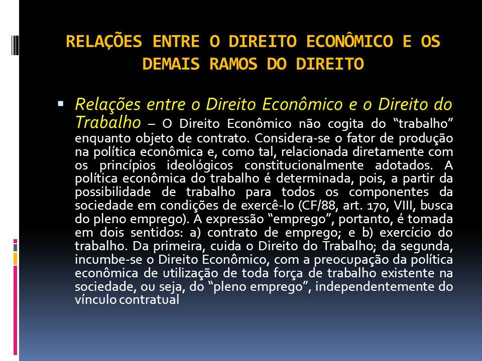 RELAÇÕES ENTRE O DIREITO ECONÔMICO E OS DEMAIS RAMOS DO DIREITO Relações entre o Direito Econômico e o Direito do Trabalho – O Direito Econômico não cogita do trabalho enquanto objeto de contrato.
