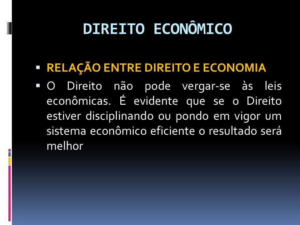 DIREITO ECONÔMICO RELAÇÃO ENTRE DIREITO E ECONOMIA O Direito não pode vergar-se às leis econômicas. É evidente que se o Direito estiver disciplinando