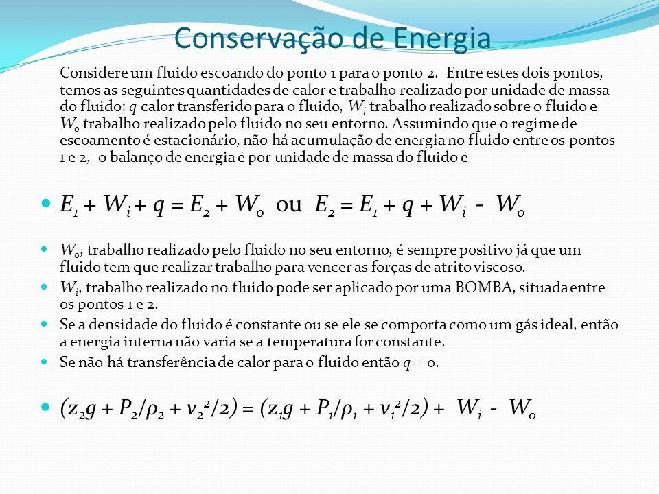 Conservação de Energia Considere um fluido escoando do ponto 1 para o ponto 2. Entre estes dois pontos, temos as seguintes quantidades de calor e trab