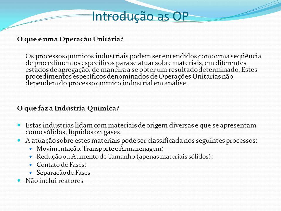 Introdução as OP O que é uma Operação Unitária? Os processos químicos industriais podem ser entendidos como uma seqüência de procedimentos específicos