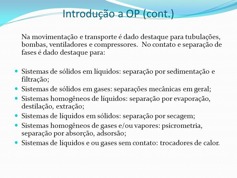 Introdução a OP (cont.) Na movimentação e transporte é dado destaque para tubulações, bombas, ventiladores e compressores. No contato e separação de f
