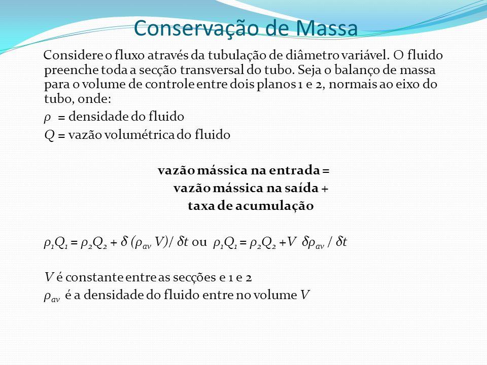 Conservação de Massa Considere o fluxo através da tubulação de diâmetro variável. O fluido preenche toda a secção transversal do tubo. Seja o balanço