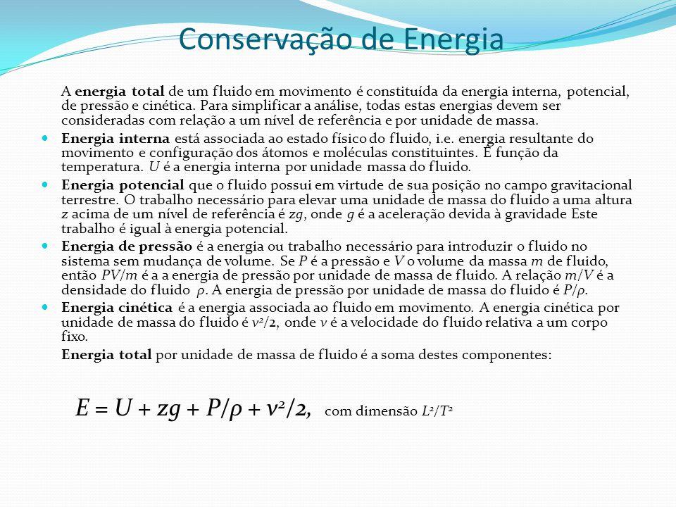 Conservação de Energia A energia total de um fluido em movimento é constituída da energia interna, potencial, de pressão e cinética. Para simplificar