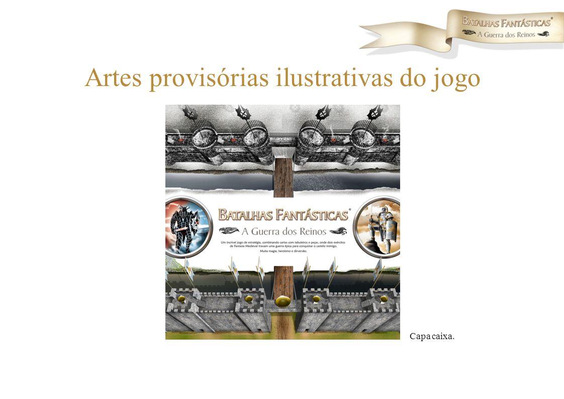 Artes provisórias ilustrativas do jogo Capa caixa.