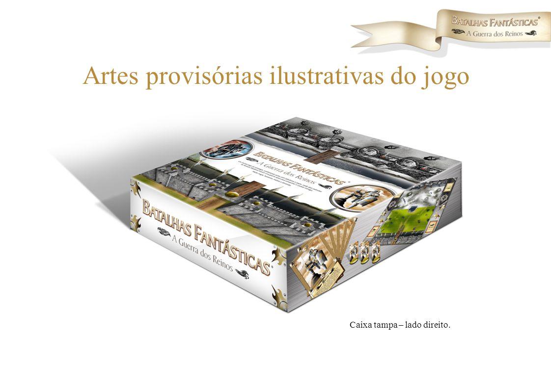 Caixa tampa – lado direito. Artes provisórias ilustrativas do jogo
