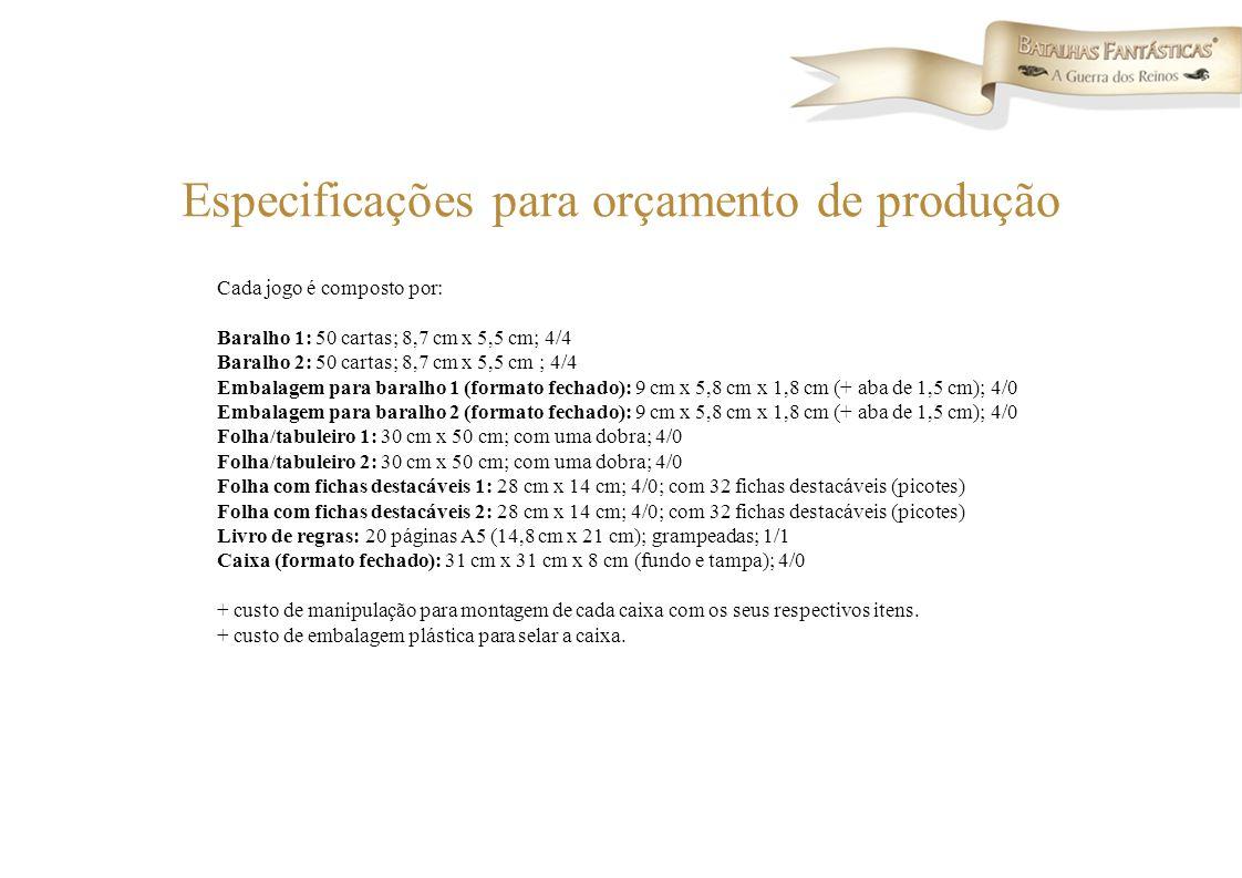 Especificações para orçamento de produção Cada jogo é composto por: Baralho 1: 50 cartas; 8,7 cm x 5,5 cm; 4/4 Baralho 2: 50 cartas; 8,7 cm x 5,5 cm ;