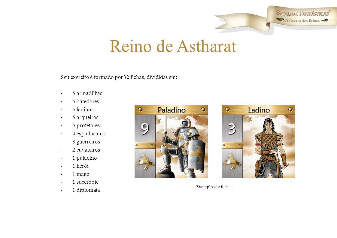 Seu exercito é formado por 32 fichas, divididas em: -5 armadilhas -5 batedores -5 ladinos -5 arqueiros -5 protetores -4 espadachins -3 guerreiros -2 c