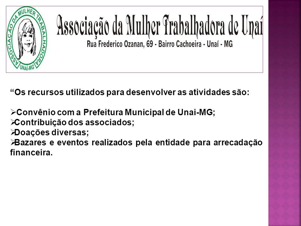 Os recursos utilizados para desenvolver as atividades são: Convênio com a Prefeitura Municipal de Unai-MG; Contribuição dos associados; Doações diversas; Bazares e eventos realizados pela entidade para arrecadação financeira.