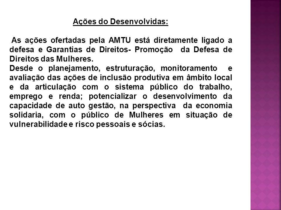 Ações do Desenvolvidas: As ações ofertadas pela AMTU está diretamente ligado a defesa e Garantias de Direitos- Promoção da Defesa de Direitos das Mulheres.