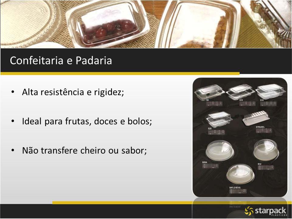 Confeitaria e Padaria Alta resistência e rigidez; Ideal para frutas, doces e bolos; Não transfere cheiro ou sabor;