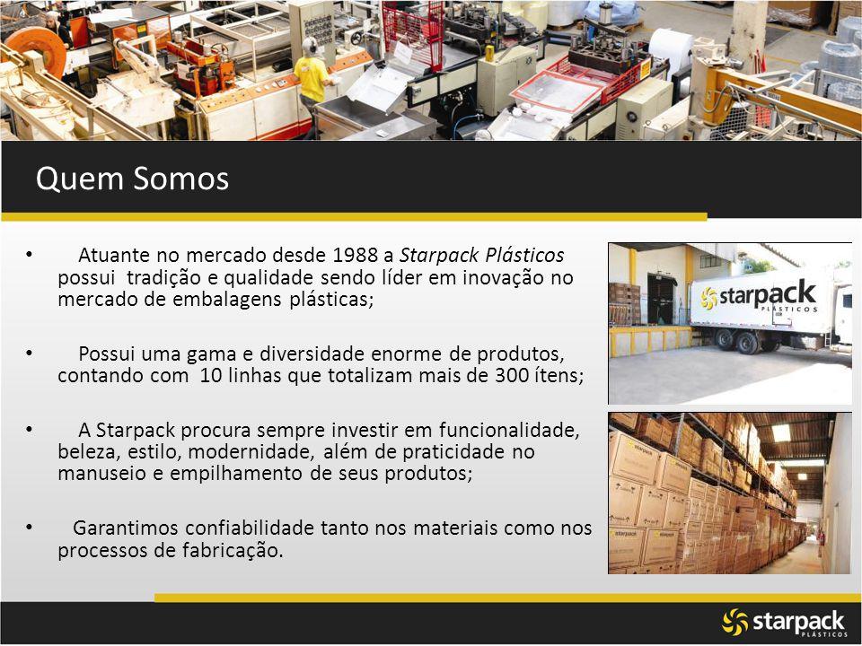 Atuante no mercado desde 1988 a Starpack Plásticos possui tradição e qualidade sendo líder em inovação no mercado de embalagens plásticas; Possui uma