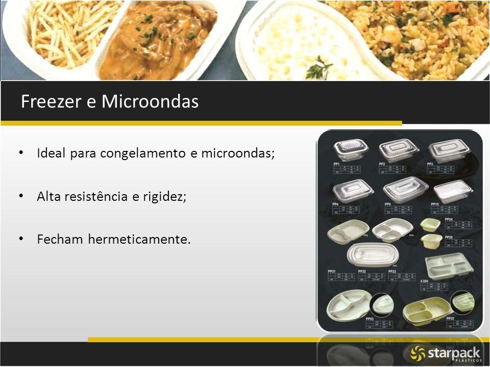 Freezer e Microondas Ideal para congelamento e microondas; Alta resistência e rigidez; Fecham hermeticamente.