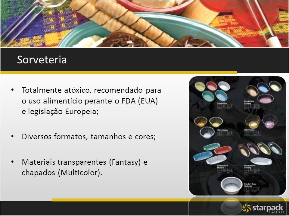 Sorveteria Totalmente atóxico, recomendado para o uso alimentício perante o FDA (EUA) e legislação Europeia; Diversos formatos, tamanhos e cores; Mate