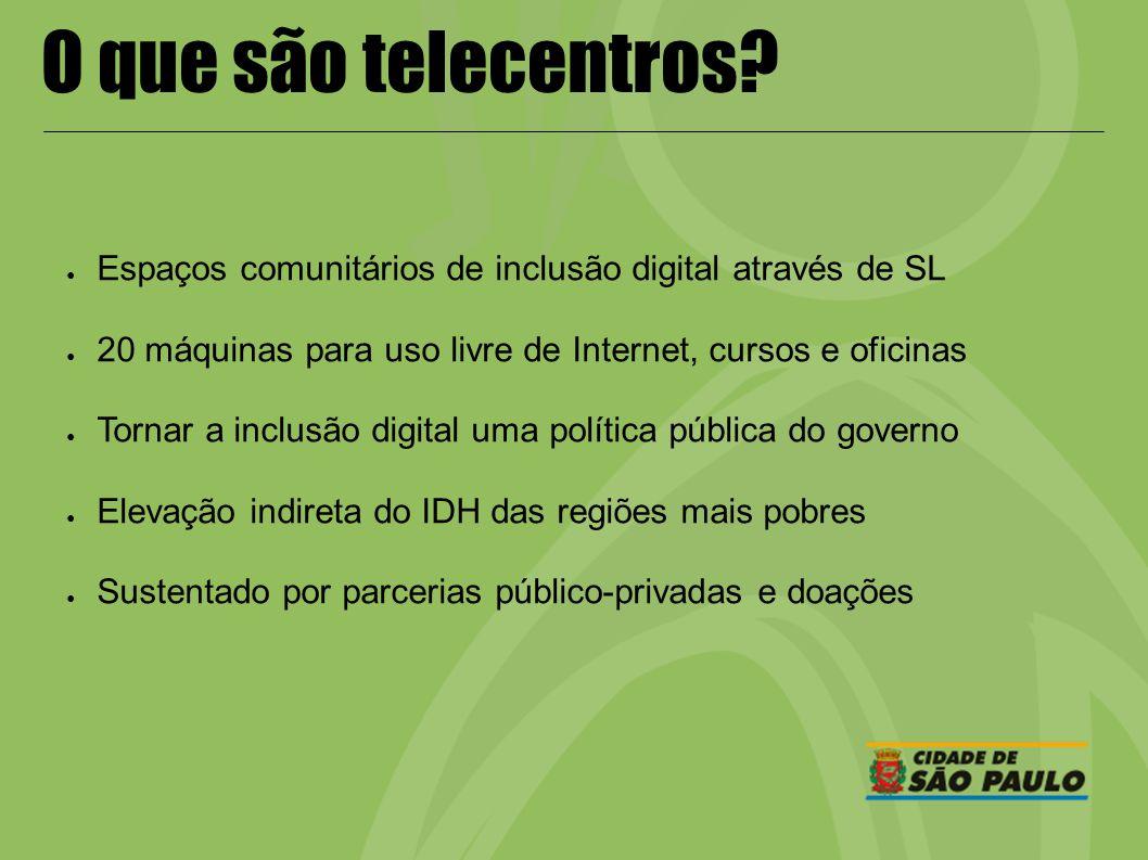 O que são telecentros? Espaços comunitários de inclusão digital através de SL 20 máquinas para uso livre de Internet, cursos e oficinas Tornar a inclu