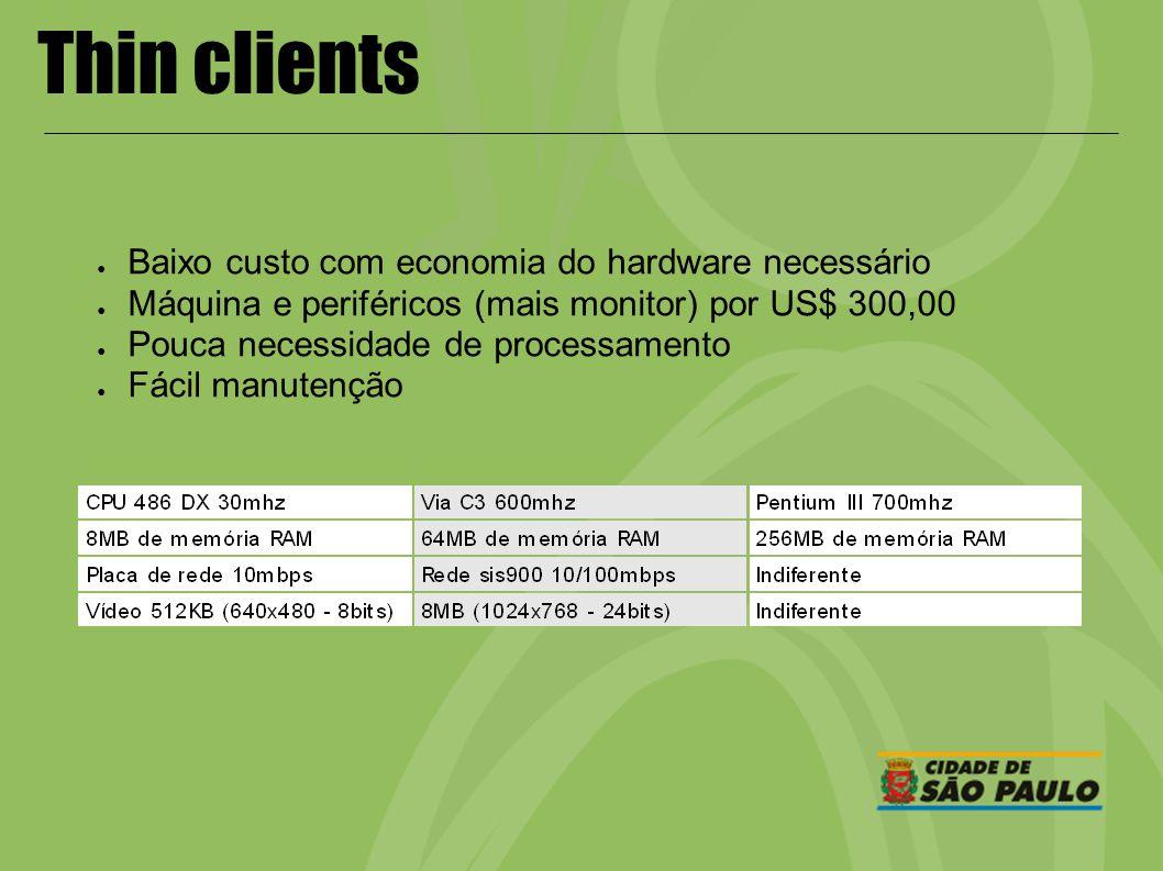 Thin clients Baixo custo com economia do hardware necessário Máquina e periféricos (mais monitor) por US$ 300,00 Pouca necessidade de processamento Fá