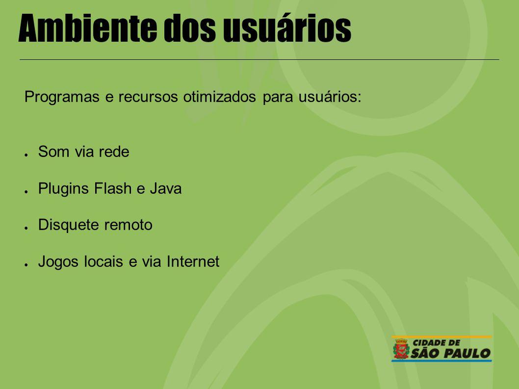 Ambiente dos usuários Programas e recursos otimizados para usuários: Som via rede Plugins Flash e Java Disquete remoto Jogos locais e via Internet