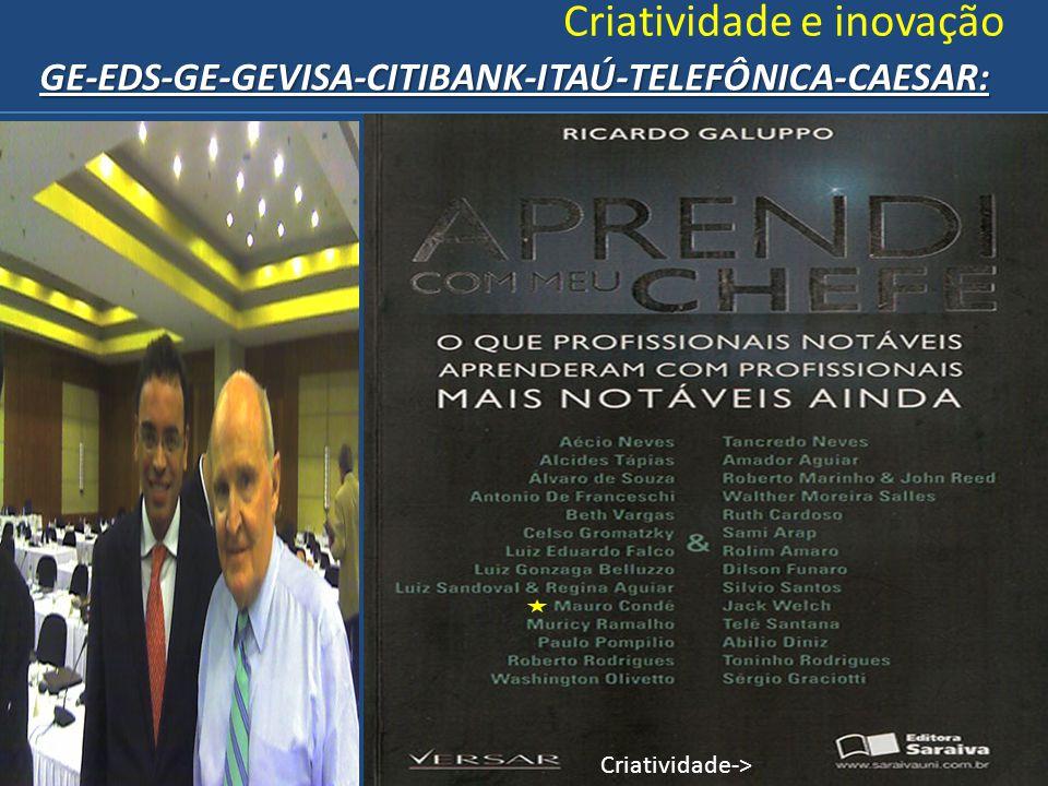 Criatividade e inovaçãoGE-EDS-GE-GEVISA-CITIBANK-ITAÚ-TELEFÔNICA-CAESAR: Criatividade->