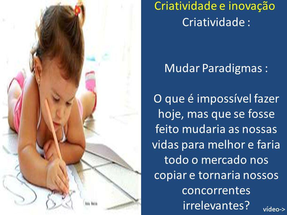 Criatividade e inovação Criatividade : Mudar Paradigmas : O que é impossível fazer hoje, mas que se fosse feito mudaria as nossas vidas para melhor e