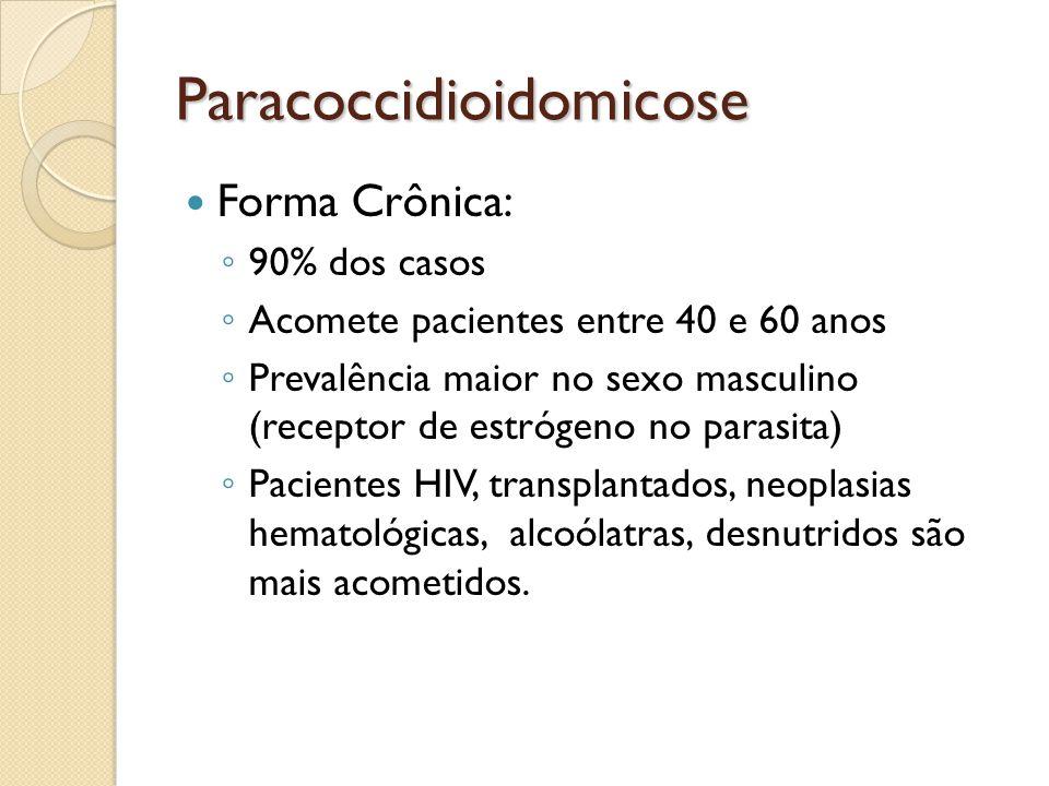 Paracoccidioidomicose Forma Crônica: 90% dos casos Acomete pacientes entre 40 e 60 anos Prevalência maior no sexo masculino (receptor de estrógeno no