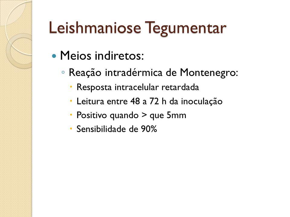 Leishmaniose Tegumentar Meios indiretos: Reação intradérmica de Montenegro: Resposta intracelular retardada Leitura entre 48 a 72 h da inoculação Posi
