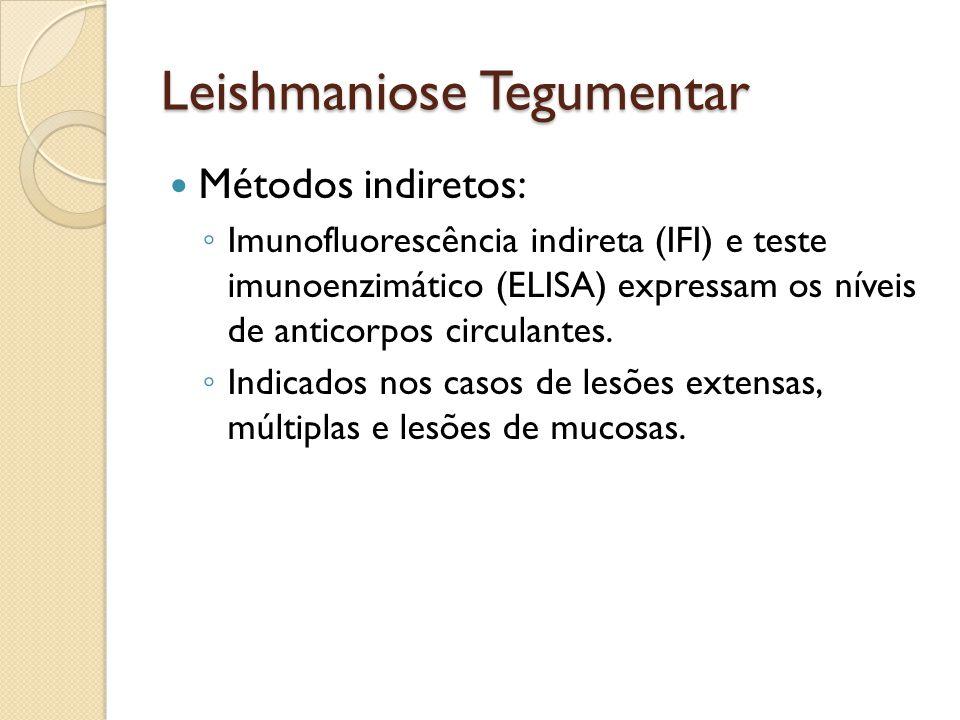 Leishmaniose Tegumentar Métodos indiretos: Imunofluorescência indireta (IFI) e teste imunoenzimático (ELISA) expressam os níveis de anticorpos circula