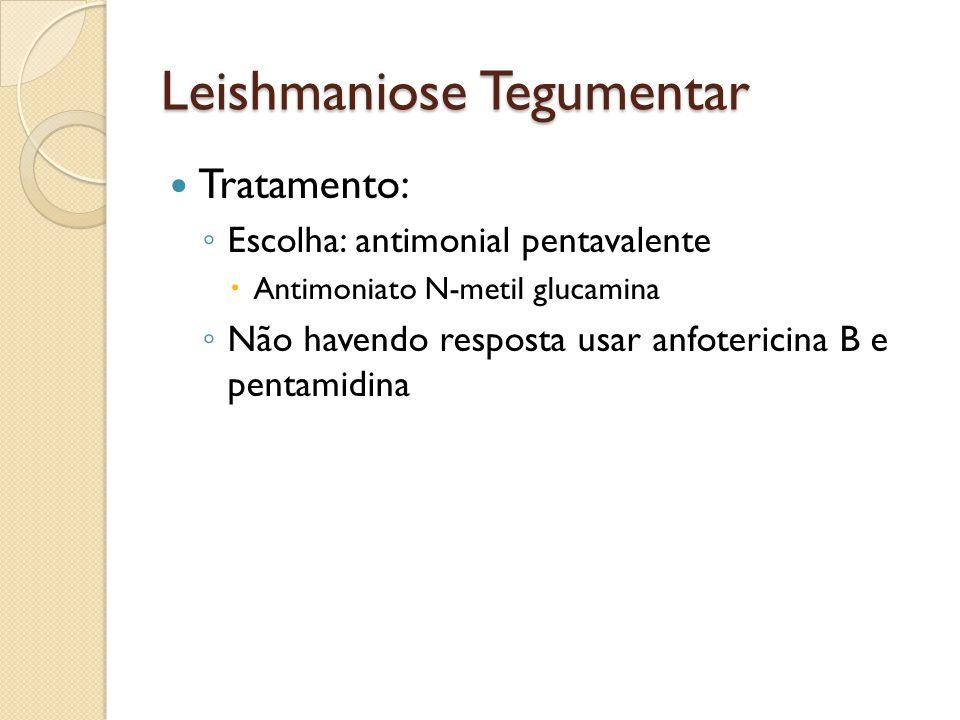 Leishmaniose Tegumentar Tratamento: Escolha: antimonial pentavalente Antimoniato N-metil glucamina Não havendo resposta usar anfotericina B e pentamid