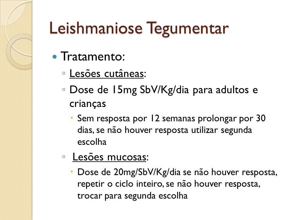 Leishmaniose Tegumentar Tratamento: Lesões cutâneas: Dose de 15mg SbV/Kg/dia para adultos e crianças Sem resposta por 12 semanas prolongar por 30 dias