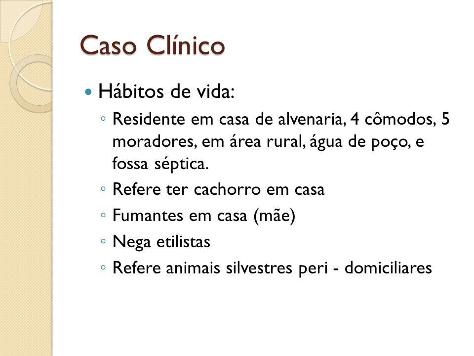Caso Clínico Hábitos de vida: Residente em casa de alvenaria, 4 cômodos, 5 moradores, em área rural, água de poço, e fossa séptica. Refere ter cachorr