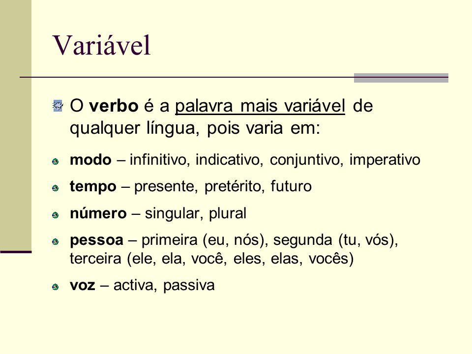 Variável O verbo é a palavra mais variável de qualquer língua, pois varia em: modo – infinitivo, indicativo, conjuntivo, imperativo tempo – presente,