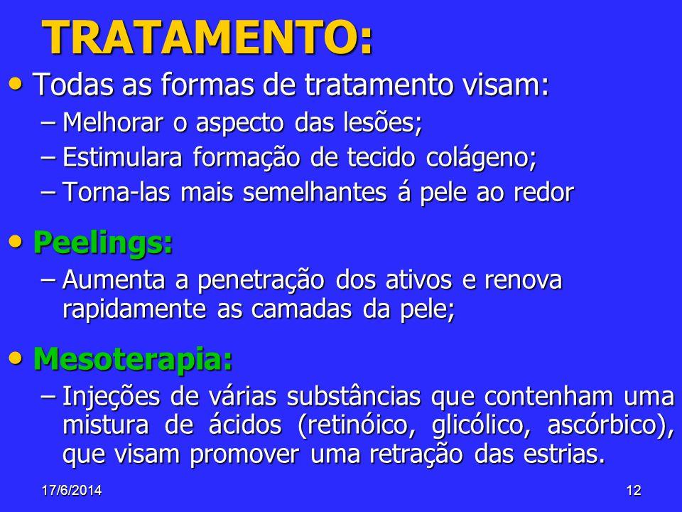 17/6/201412 TRATAMENTO: Todas as formas de tratamento visam: Todas as formas de tratamento visam: –Melhorar o aspecto das lesões; –Estimulara formação